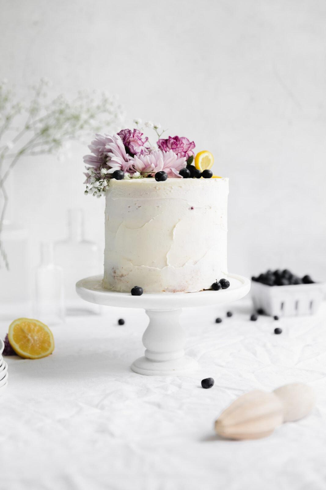 lemon cake on a cakestand