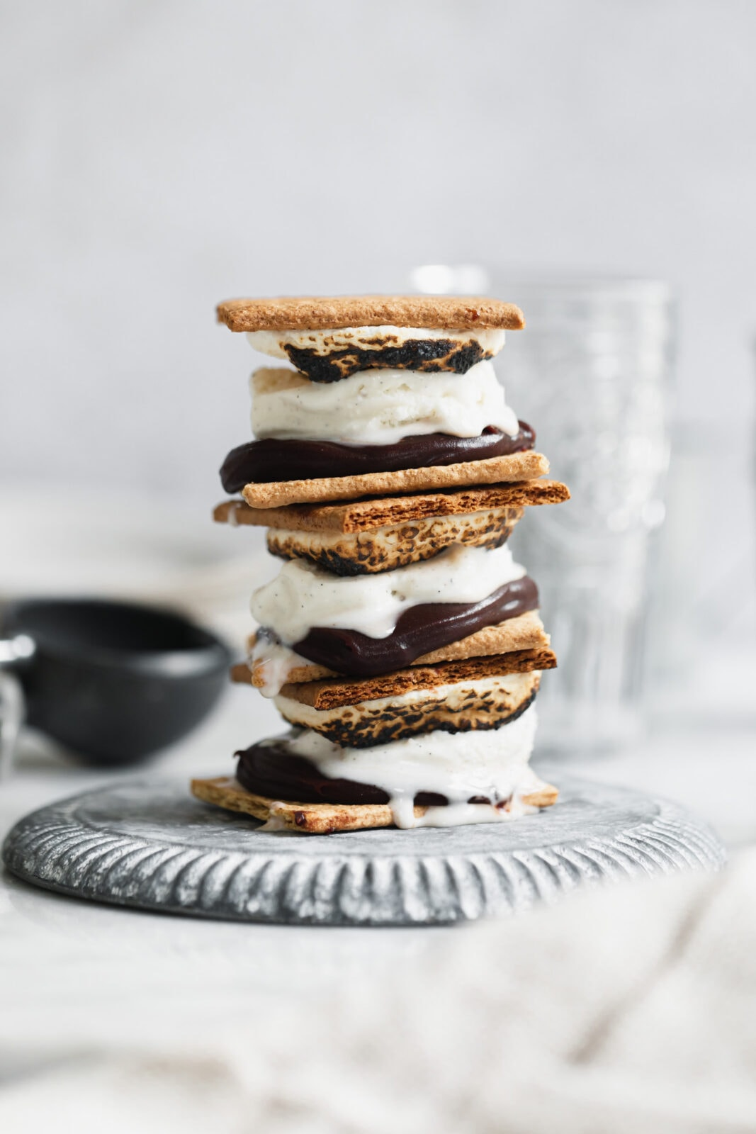 frozen s'mores in a stack