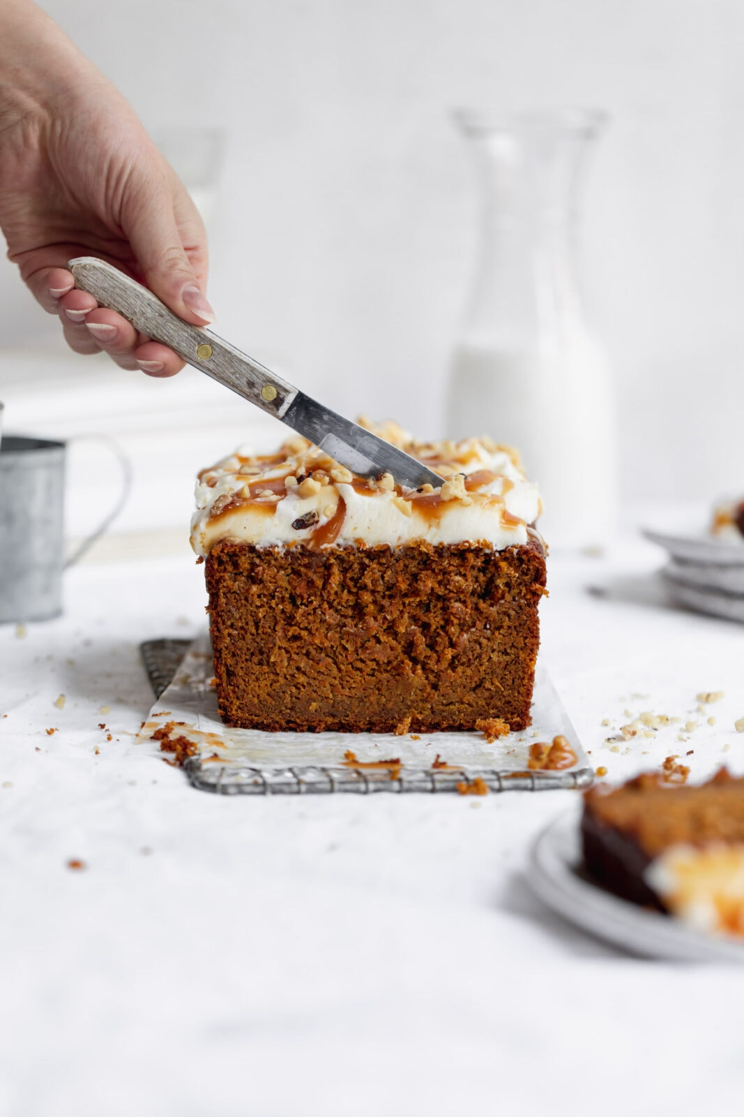 carrot cake loaf cake with cream cheese frosting