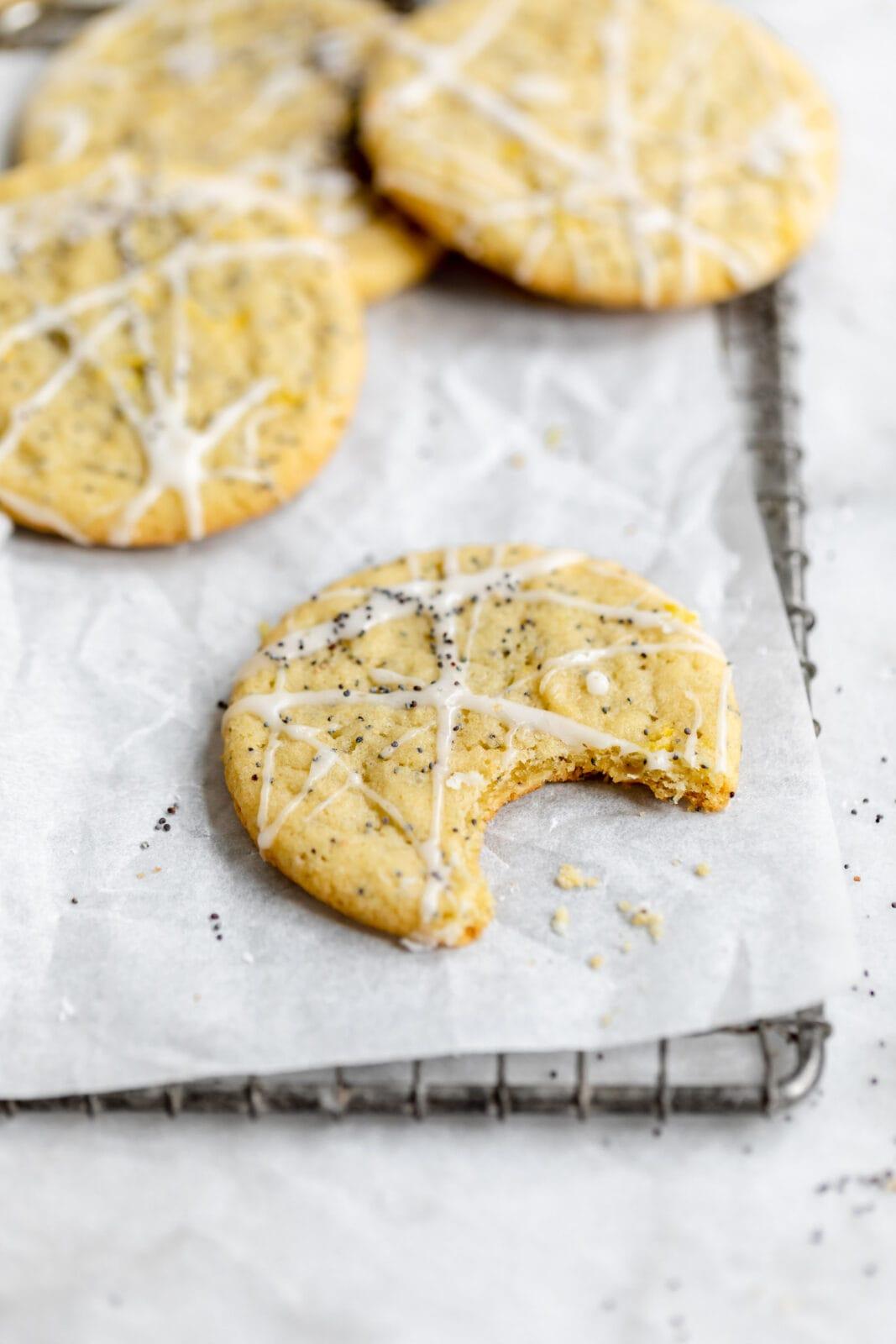 chewy lemon poppyseed cookies with lemon icing