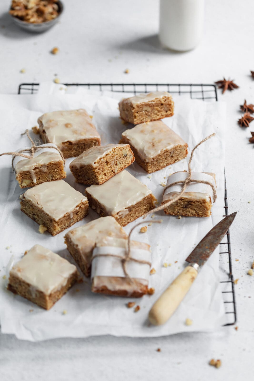 maple chai blondies on a cooling rack