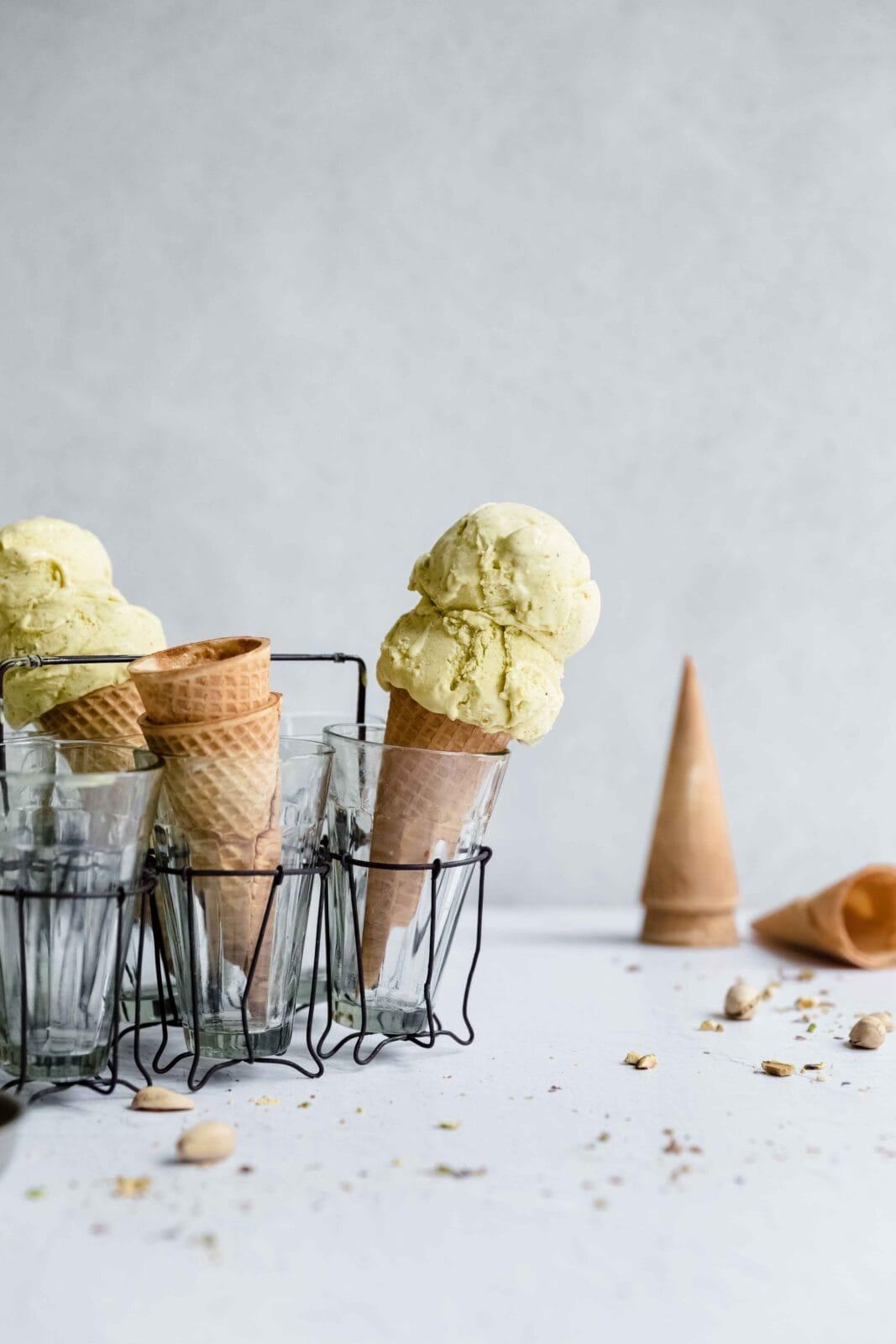 pistachio ice cream in sugar cones