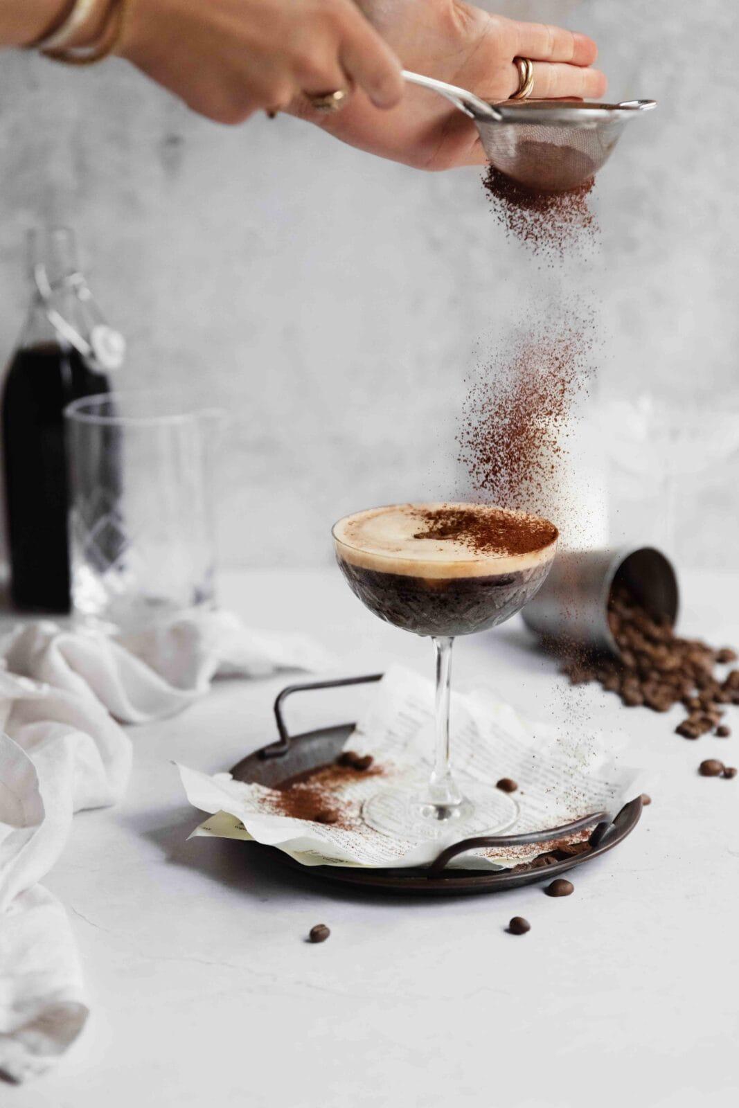 espresso martini in a cocktail glass