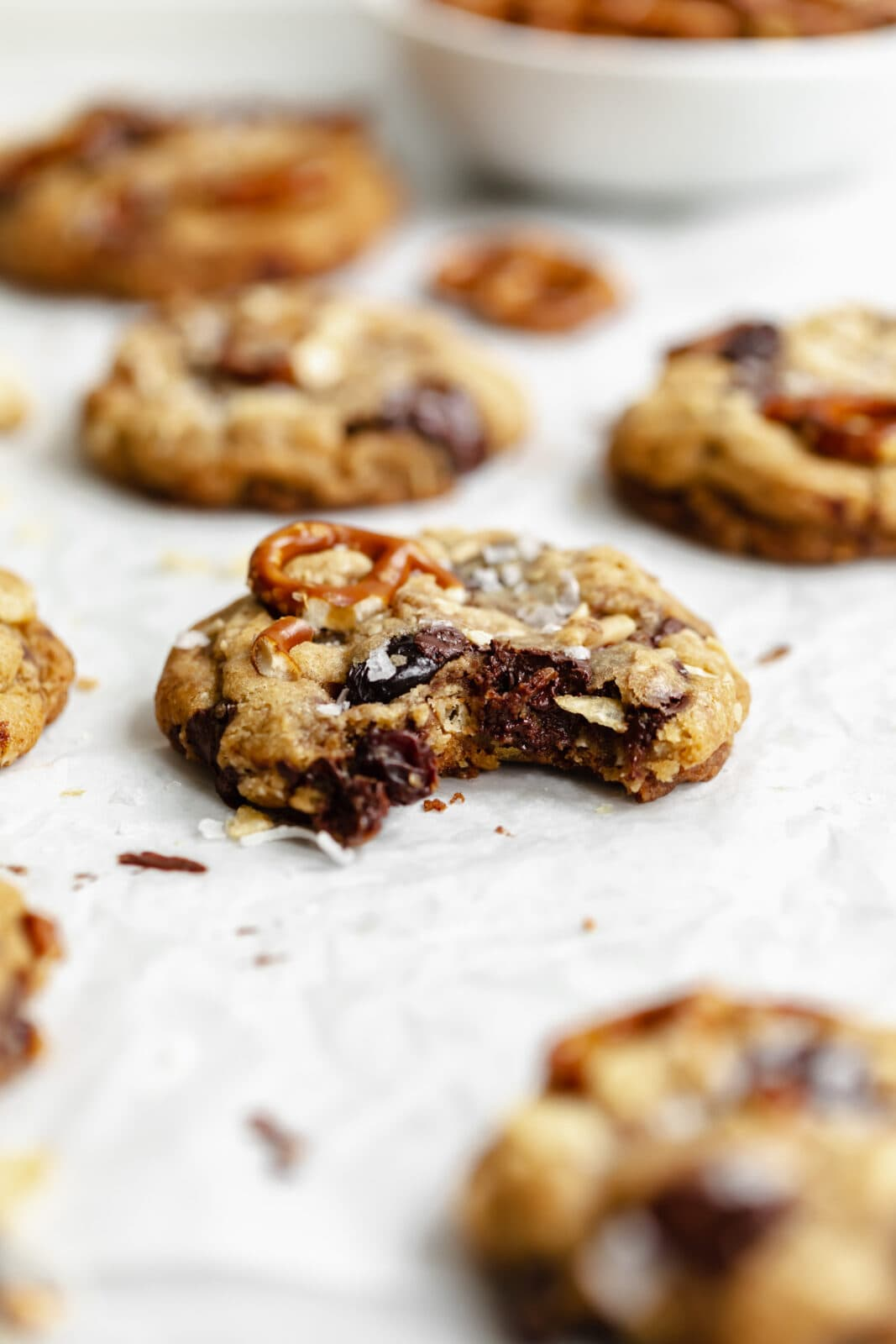 chocolate chip cookies with pretzels, chips, and coconut