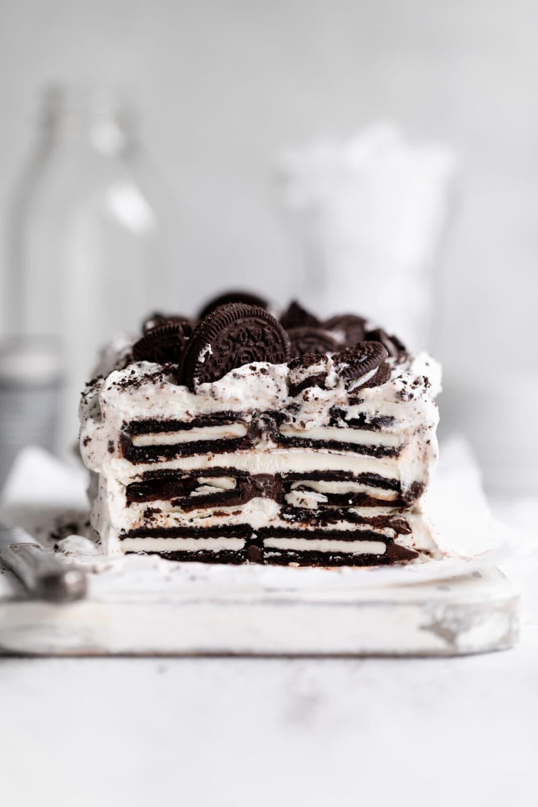 mocha cookies and cream icebox cake