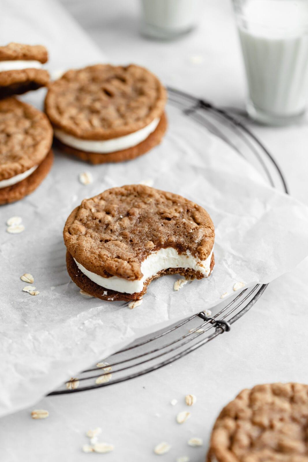 homemade oatmeal creme pie on plate