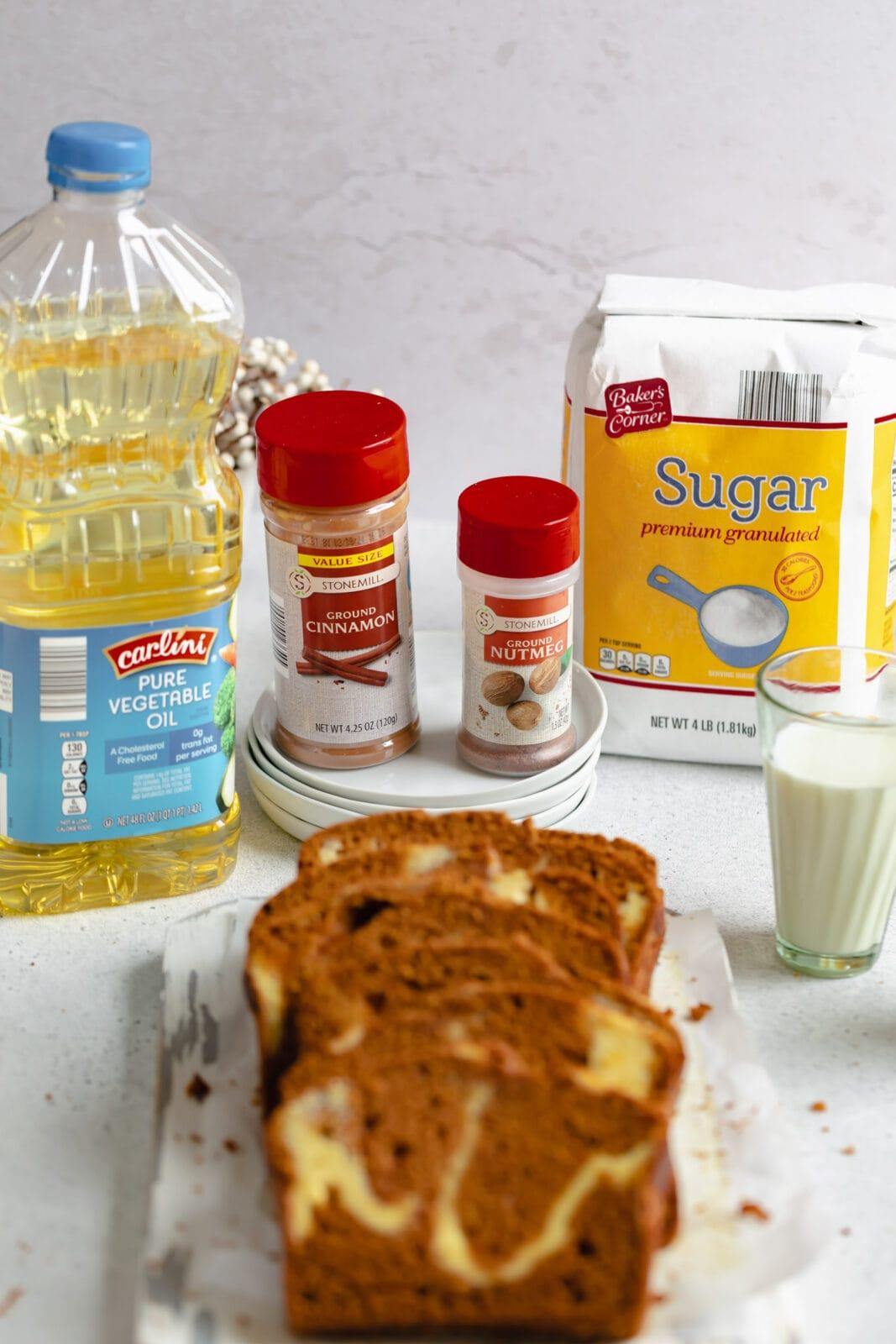 ingredients for cream cheese swirl pumpkin bread