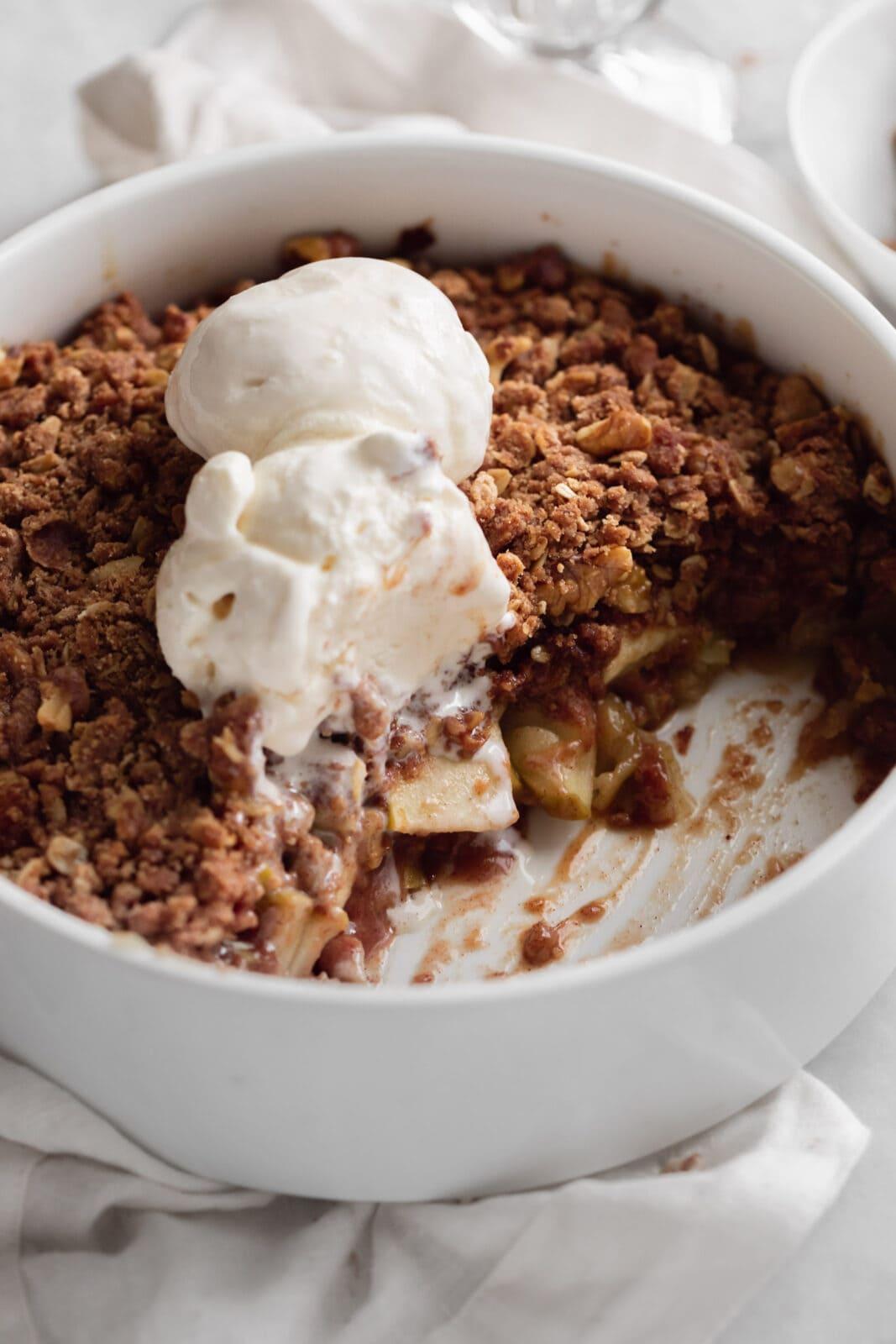 walnut maple apple crisp with ice cream
