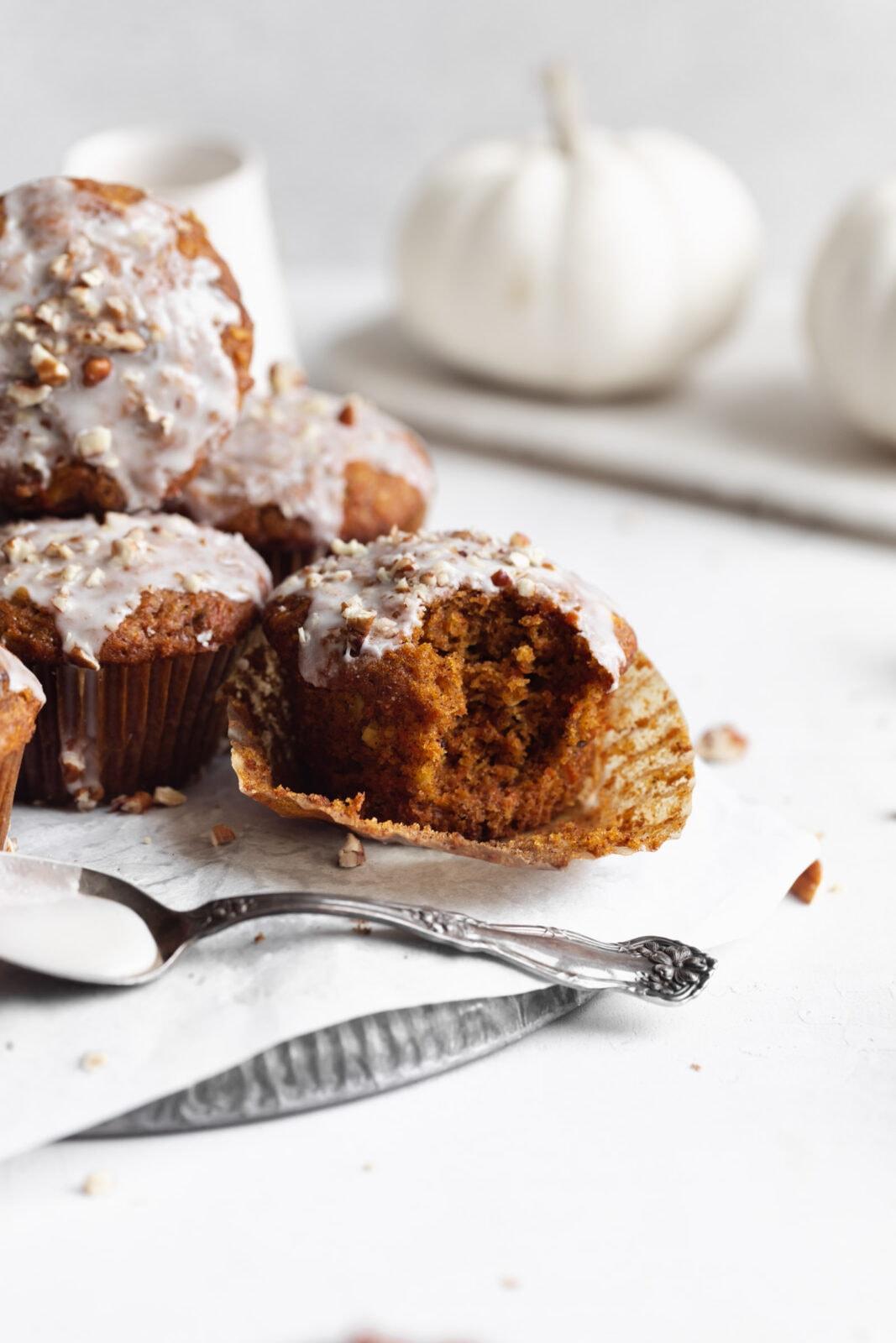 pumpkin carrot cake muffins for fall
