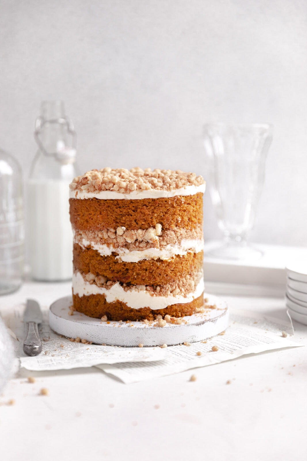 pumpkin streusel layer cake on stand