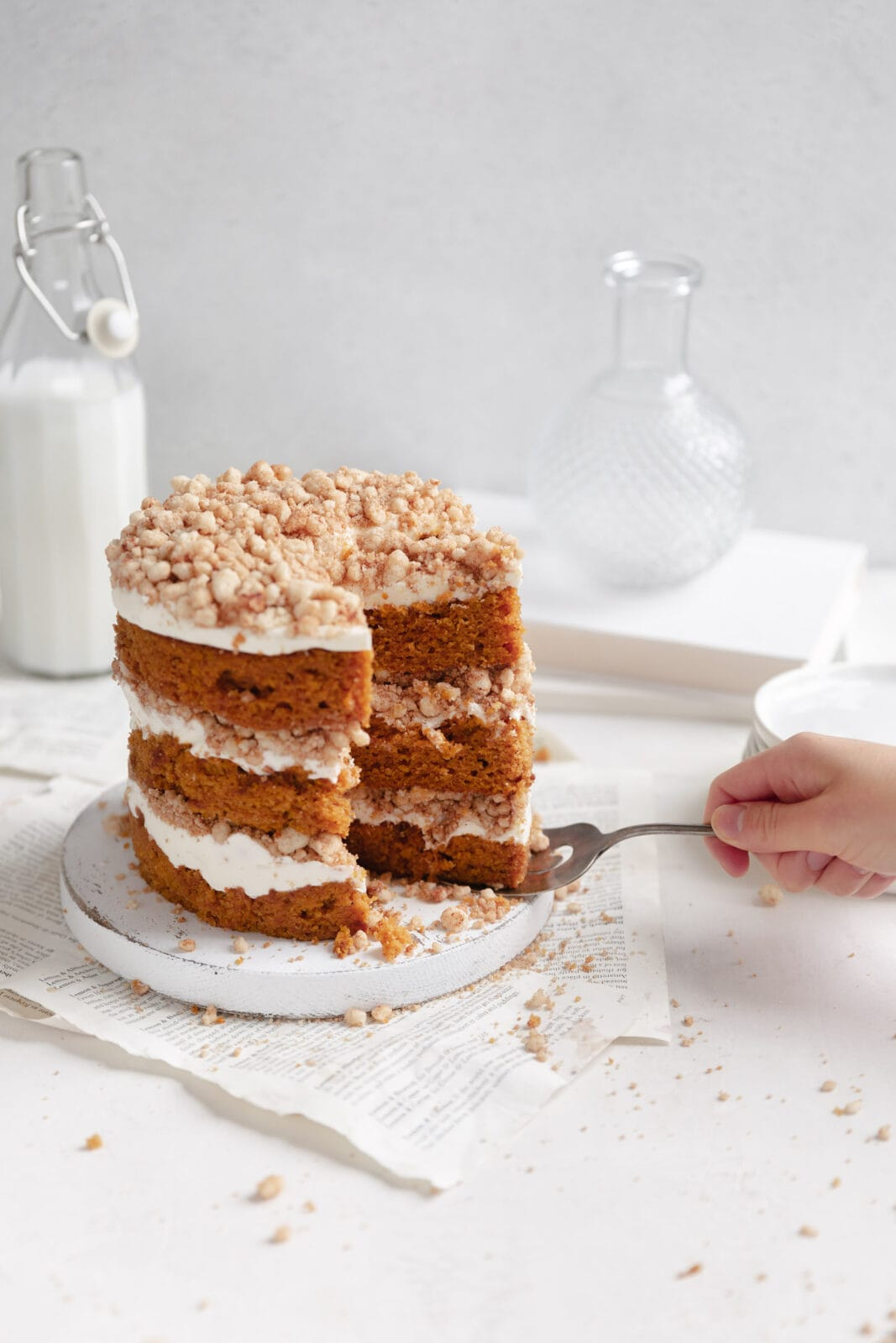 pumpkin cake with cream cheese frosting and streusel filling