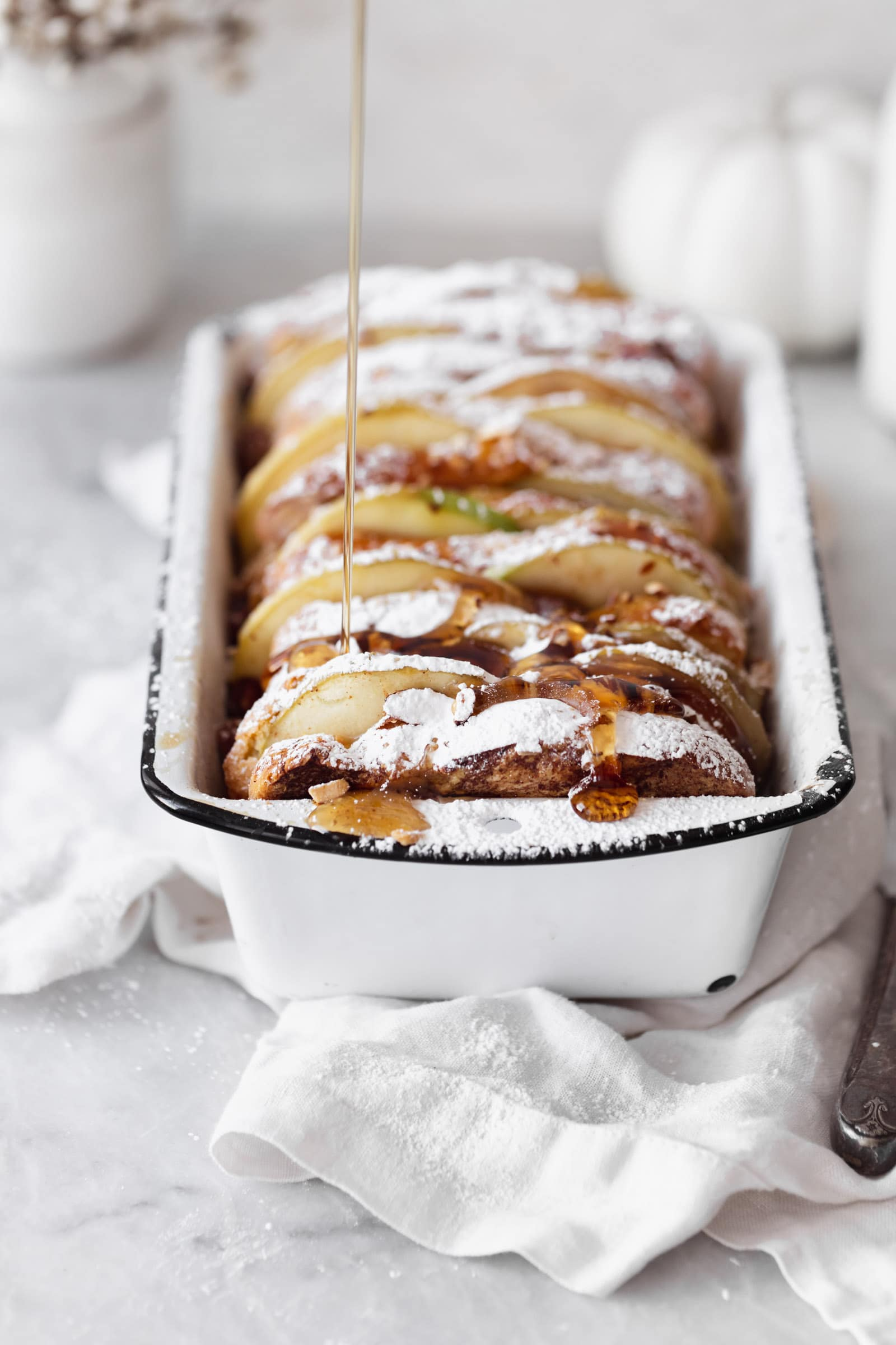 cinnamon apple french toast bake with syrup